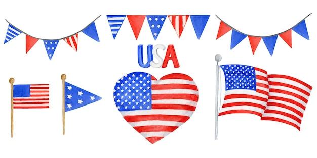 Set di bandiere americane e ghirlanda di corde, illustrazione dell'acquerello disegnato a mano per il felice giorno dell'indipendenza d'america. 4 luglio