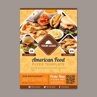 Modello di volantino di cibo americano