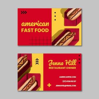Biglietto da visita orizzontale di cibo americano