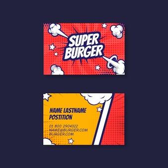 Disegno del modello di biglietto da visita bifacciale orizzontale cibo americano