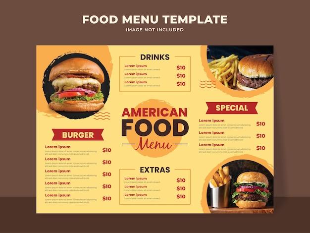 Modello di menu di cibo americano con hamburger, bevande e altre voci di menu