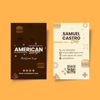Modello di biglietto da visita del pub di cibo americano