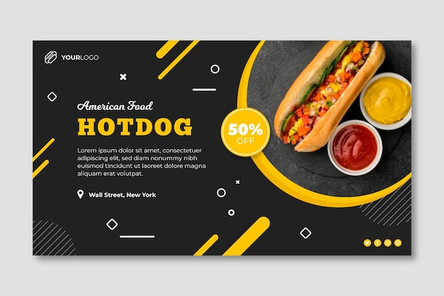 Modello di banner ristorante cibo americano