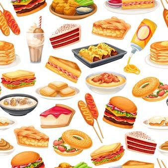 Modello senza cuciture di cibo americano, illustrazione vettoriale. cane di mais, zuppa di vongole, blt, sandwich e ali di bufalo. torta di velluto rosso, grana, panino montecristo, pancake, acero, formaggio spray e ets