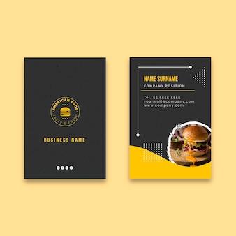 Biglietto da visita verticale di cibo americano