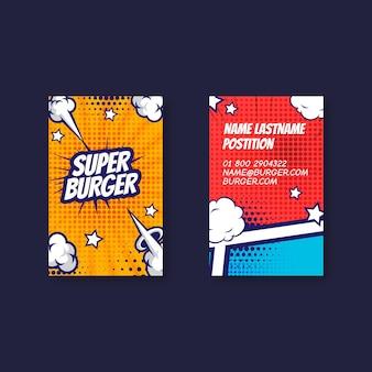 Disegno del modello di biglietto da visita bifacciale verticale di cibo americano
