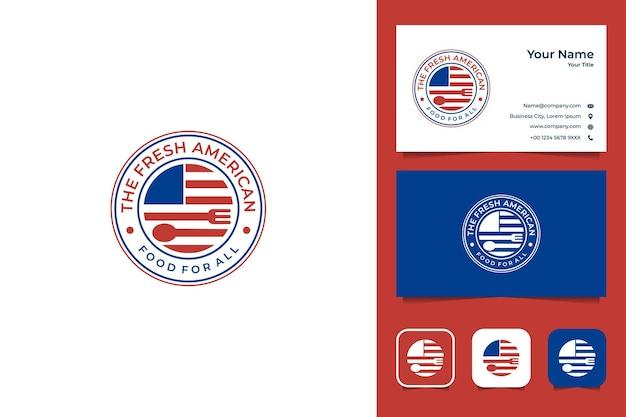 Cibo americano con design logo bandiera e posate e biglietto da visita