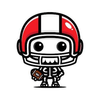 Disegno del personaggio del cranio del calcio americano