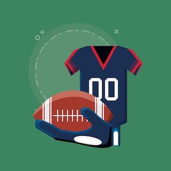 Pallone da football americano e maglia