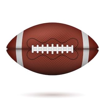 Pallone da football americano. icona realistica. palla da rugby americano vista frontale. su sfondo bianco