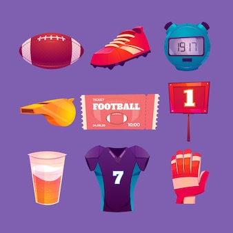 Illustrazione di elementi di football americano