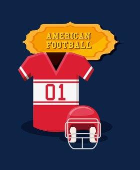 Emblema di football americano con maglia e casco
