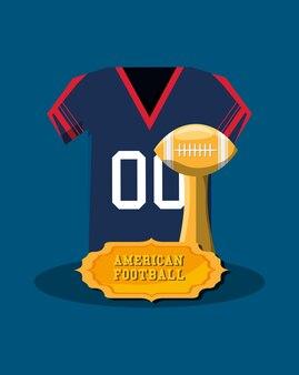 Emblema del football americano con maglia e trofeo