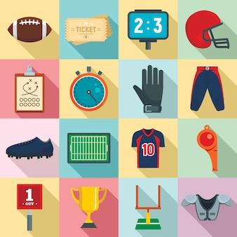 Icone dell'attrezzatura di football americano messe, stile piano