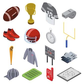 Le icone dell'attrezzatura di football americano hanno messo, stile isometrico