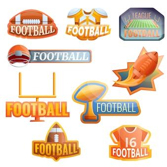 Insieme di logo dell'attrezzatura di football americano, stile del fumetto
