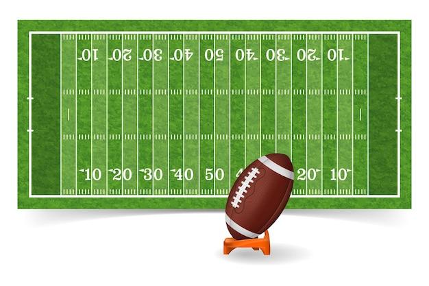 Campo di football americano con linea, palla realistica ed erba texture.