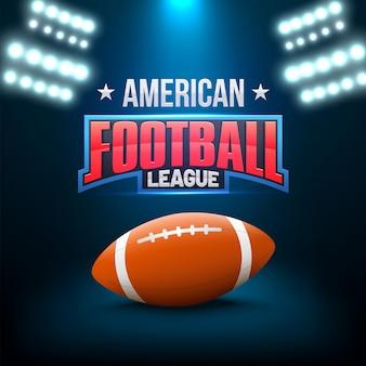 Concetto della lega di football americano con la palla e testo brillante, luci della fiammata su fondo blu