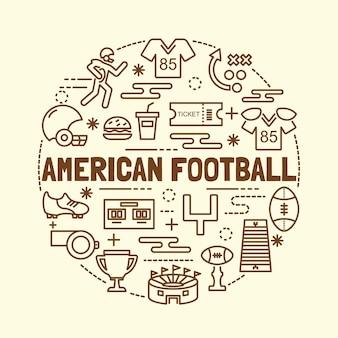 Set di icone di sottile linea sottile di football americano