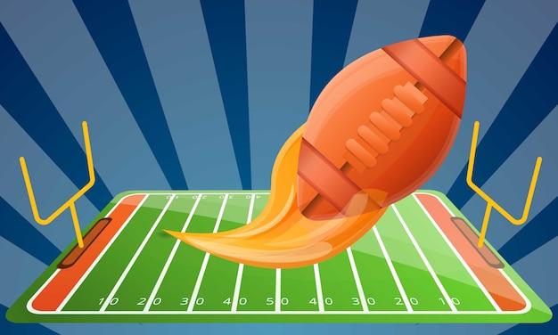 Illustrazione moderna di concetto dell'attrezzatura di football americano, stile del fumetto