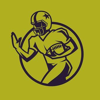 Palla della holding del giocatore di football americano. sport concept art in stile monocromatico.