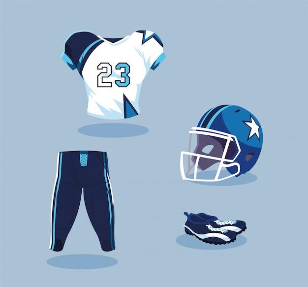 Attrezzatura del giocatore di football americano in blu e bianco