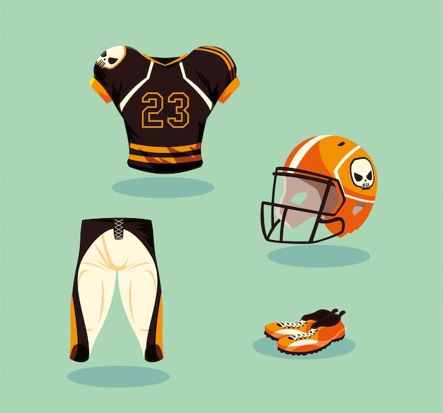 Attrezzatura del giocatore di football americano in arancio e nero