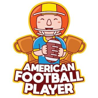 Vettore di logo della mascotte di professione del giocatore di football americano nello stile del fumetto