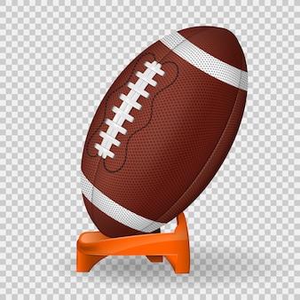 Poster di football americano con palla e supporto, icona su sfondo trasparente