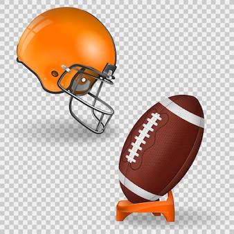 Poster di football americano con palla, supporto e casco da football americano vista laterale. icona isolato su sfondo trasparente