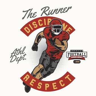 Il corridore di football americano in uniforme rossa
