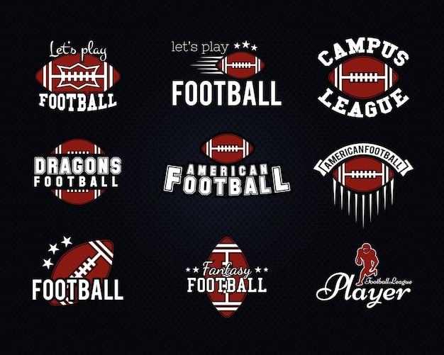 Squadra di football americano, distintivi del college, loghi, etichette, insegne, icone in stile retrò. design grafico vintage