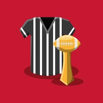 Trofeo di football americano e maglia arbitro