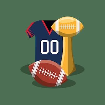 Trofeo di football americano con palla e jersey