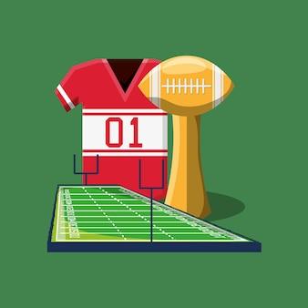 Trofeo di football americano con maglia e campo