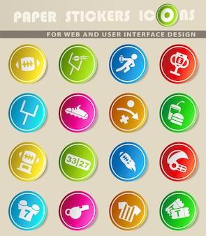 Icone vettoriali di football americano su adesivi di carta colorata
