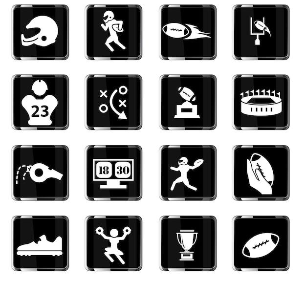 Icone vettoriali di football americano per il design dell'interfaccia utente