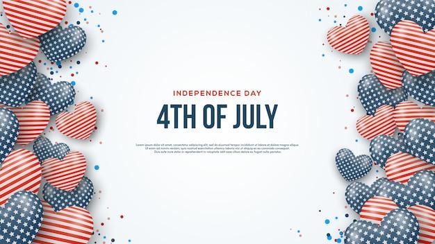 Fondo americano di festa dell'indipendenza con le illustrazioni del pallone di amore 3d.