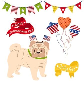 Set di cartoni animati per il giorno dell'indipendenza americana, patriottico pet pug pup balloon garland bunting flag usa