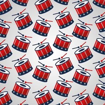 Fondo di tamburi e bastoni di giorno dell'indipendenza americana