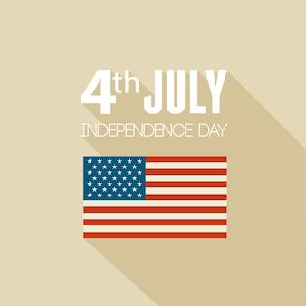 Sfondo patriottico del giorno dell'indipendenza americana. design piatto