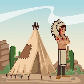 Fumetto indiano americano nel deserto