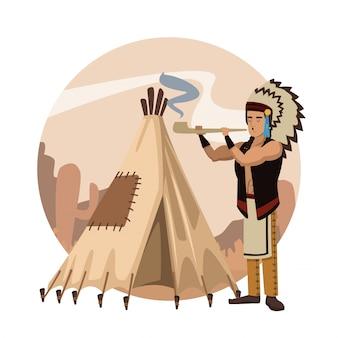 Fumetto indiano americano nell'icona rotonda