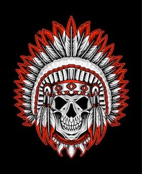 Disegno del teschio tribale indiano americano