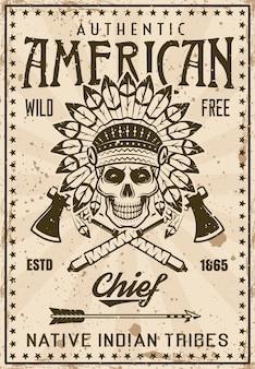 Modello di poster vintage tribù indiana americana