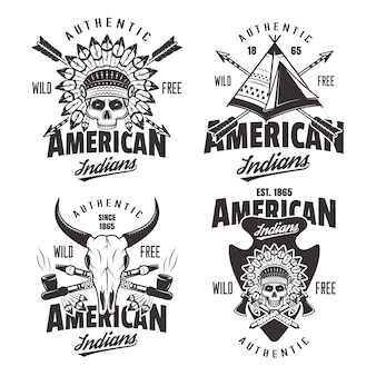 Set di indiani americani di quattro emblemi vintage