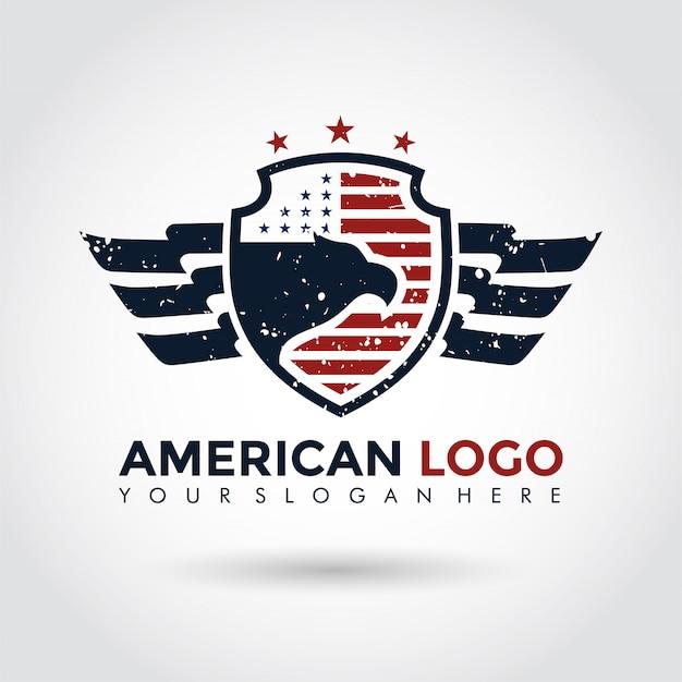 Modello di logo americano. scudo e aquila.