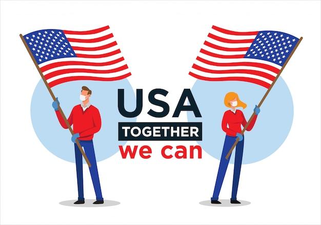 Uomo e donna americani con la bandiera di usa che incoraggiano le persone contro il virus della corona