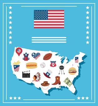 Mappa americana con icone della cultura