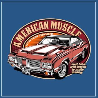 Grafica di illustrazione di muscle car americana